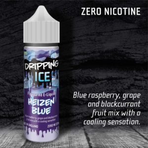 Dripping Ice Heizen Blue flavoured 50ml zero nicotine vape e liquid