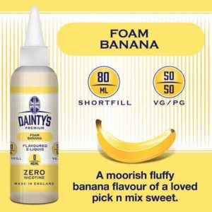 dainty's premium 80ml foam banana flavoured zero nicotine vaping e liquid