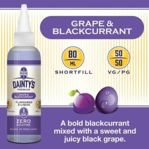 dainty's premium 80ml grape and blackcurrant flavoured zero nicotine vaping e liquid
