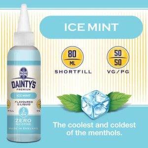 dainty's 80ml premium ice mint flavoured zero nicotine vaping e liquid