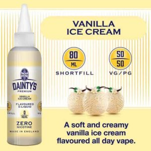 dainty's 80ml premium vanilla ice cream flavoured zero nicotine vaping e liquid
