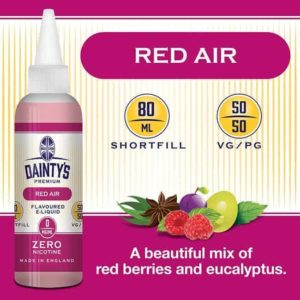 R Dainty's premium 80ml red air flavoured zero nicotine vaping e liquid