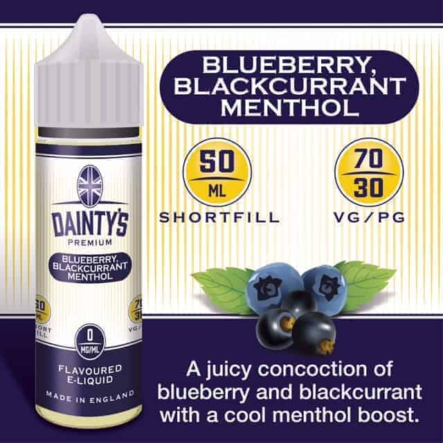 Daintys 50 ml blueberry blackcurrant menthol flavour e liquid