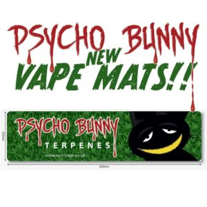 advertisement for psycho bunny vape mouse mat kush cake
