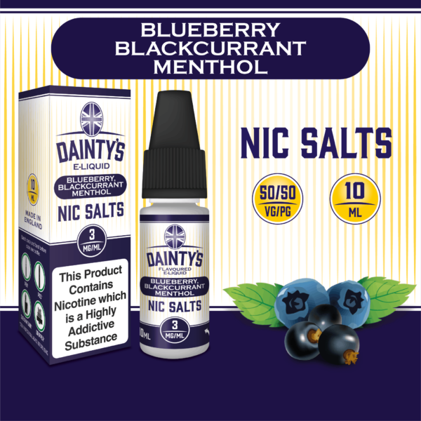 Daintys Blueberry and Blackcurrant Menthol 10ml flavour nic salts