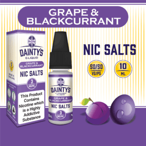 Daintys Grape and Blackcurrant 10ml flavour nic salts