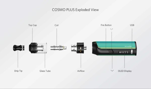 Detailed graphic for the cosmo plus vape mod