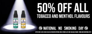 National No Smoking Day 50% off deal