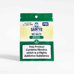Eco Vape Dainty's Special Menthol Pre Filled Pods Green White Background