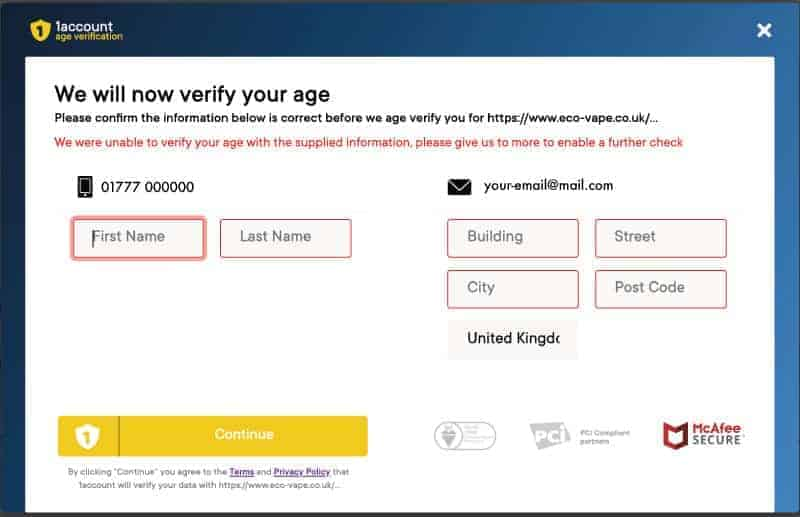 Screenshot of Age Verify Address input