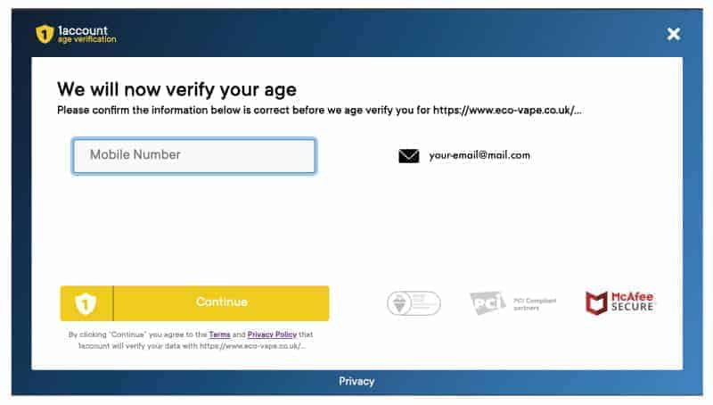Screenshot of Age Verify Screen that popus up from checkout process
