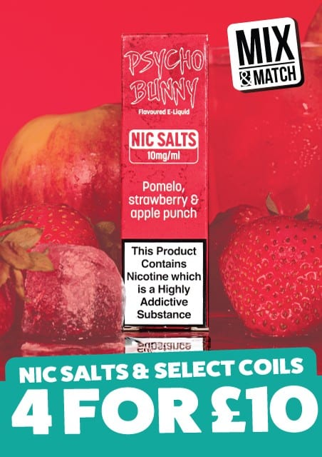 Psycho Bunny Nic salts 4 for £10 mix and match vape juice deals